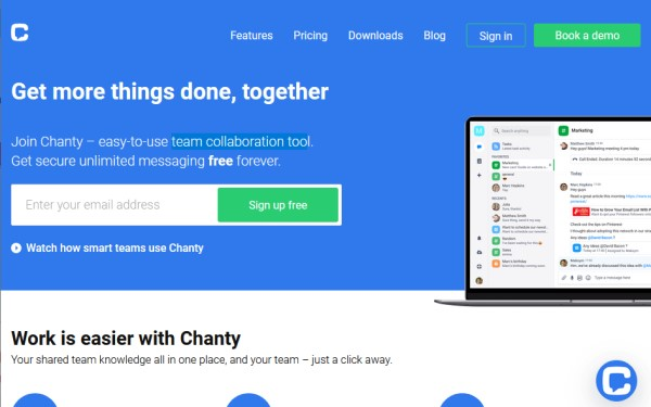 Chanty secure team collaboration tool